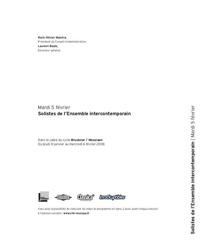 Bruckner / Messiaen -Solistes de l'Ensemble intercontemporain  