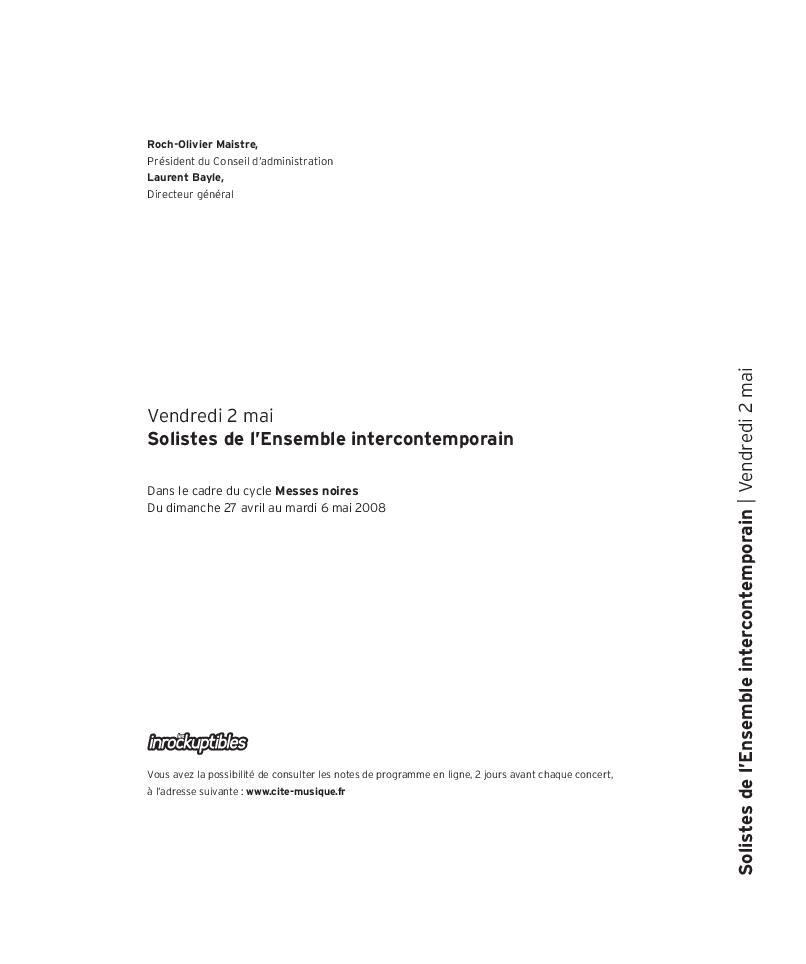Messes noires - Solistes de l'Ensemble intercontemporain  