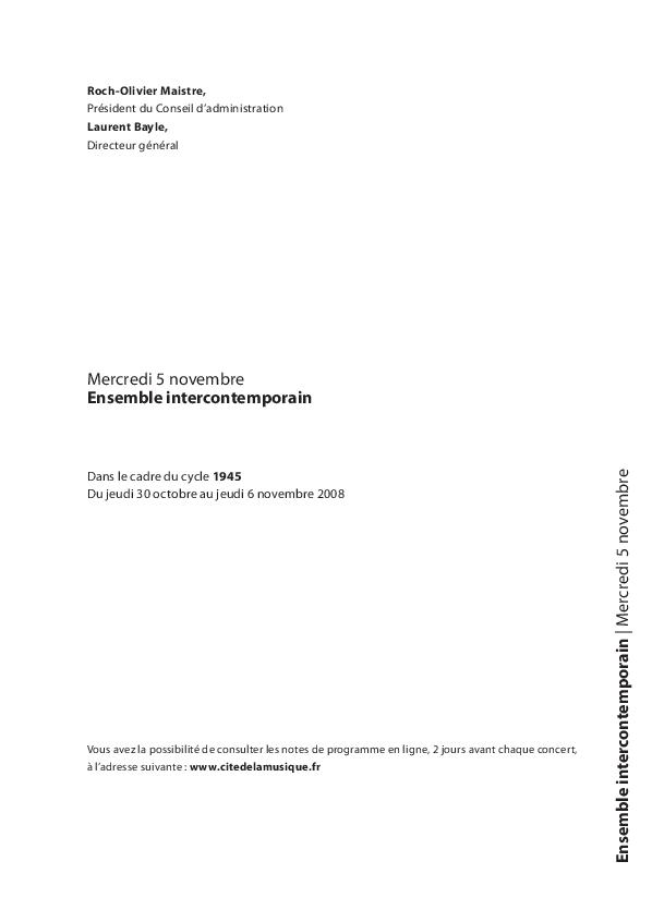 Cycle 1945 - Ensemble intercontemporain |