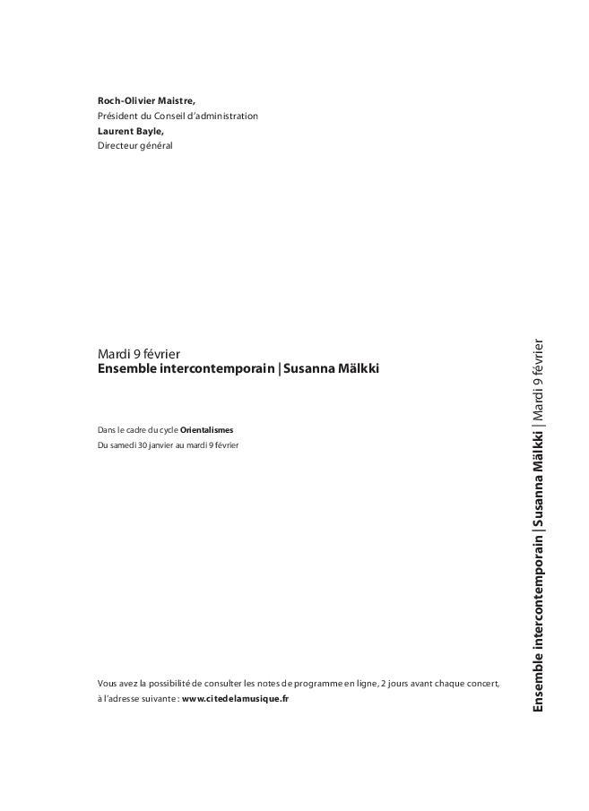 Orientalismes - Ensemble intercontemporain, Susanna Mälkki |