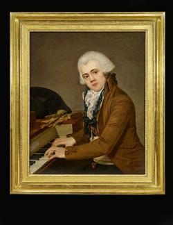 Portrait de pianiste avec piano carré Erard frères   Anonyme